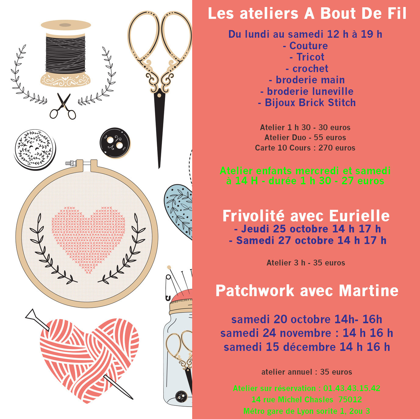 Atelier couture tricot broderie