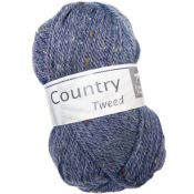 Laine cheval blanc country tweed bleu